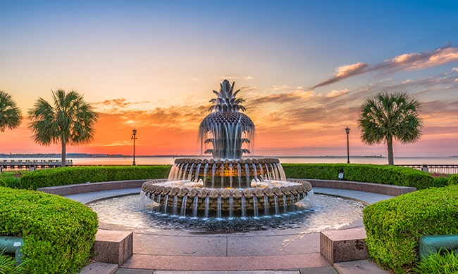 Dusk shot of Charleston fountain